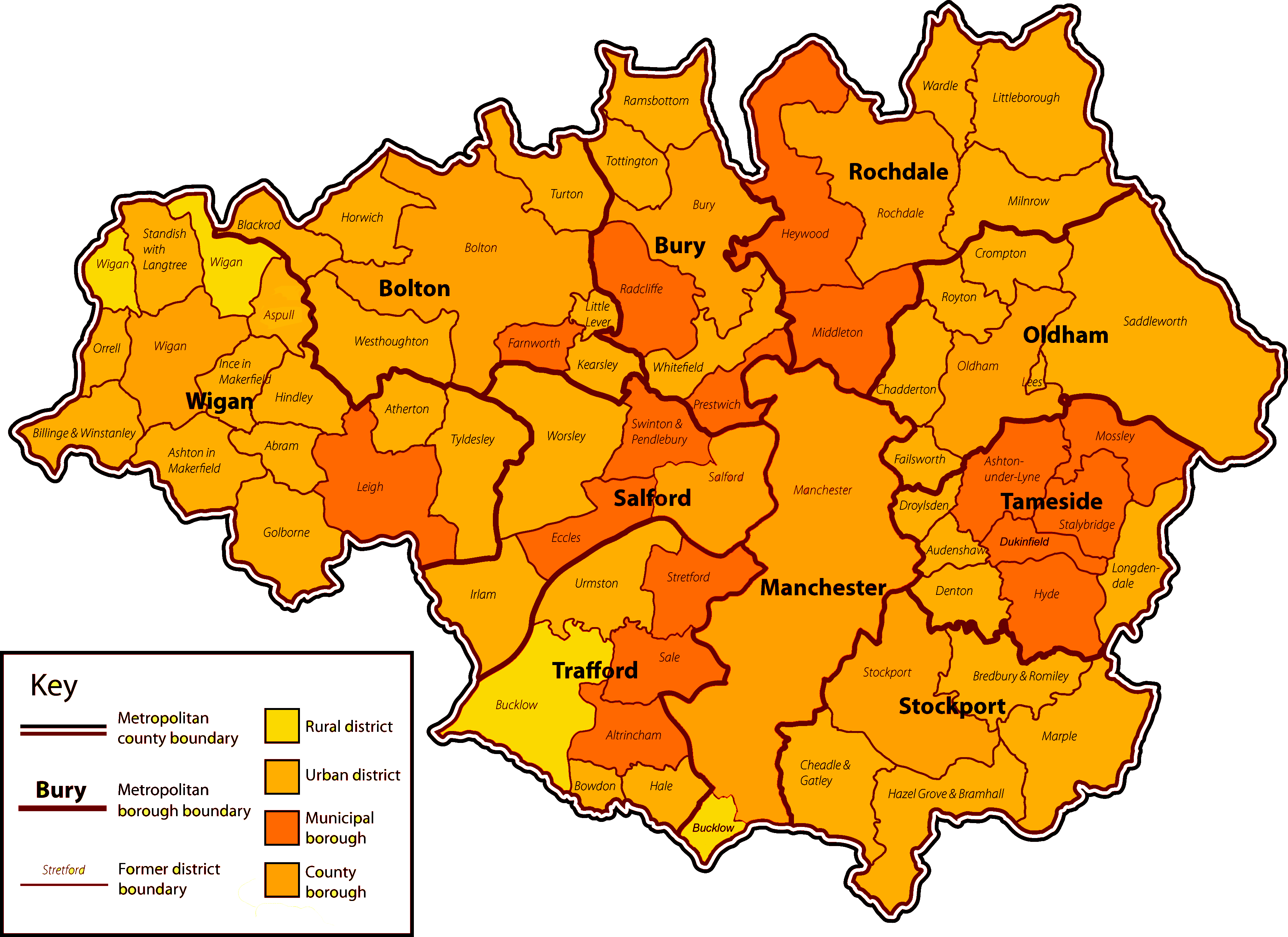 Map of Greater Manchester, and the areas that we service: boarding up and re-glazing