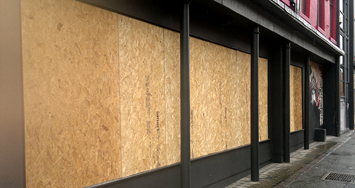Secure Glazing: Emergency boarding for nightclubs.